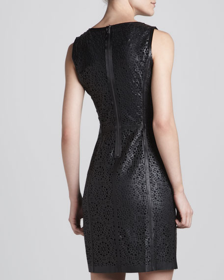 Tallen Allover Laser-Cut Leather Dress