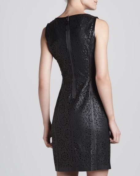 Tallen Allover Laser-Cut Leather Dress