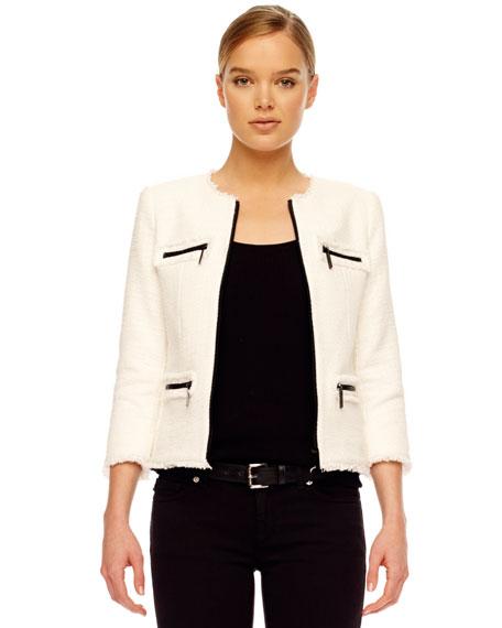 Frayed Zip-Pocket Jacket