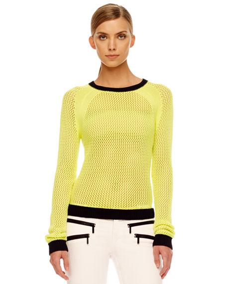 Two-Tone Mesh Sweater