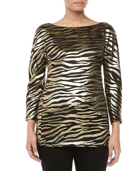 Metallic Zebra Brocade Tunic