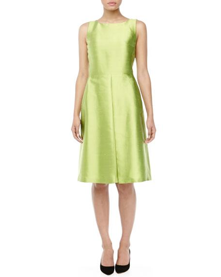Bateau-Neck Pleated Shantung Dress, Lime