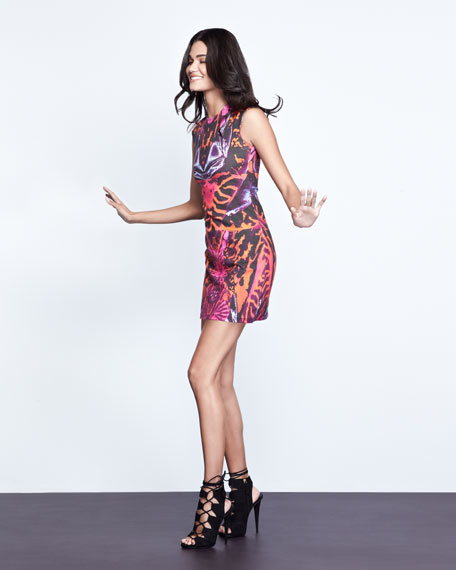 Kaleidoscope-Print Cap-Sleeve Sheath Dress, Terracotta/Pink
