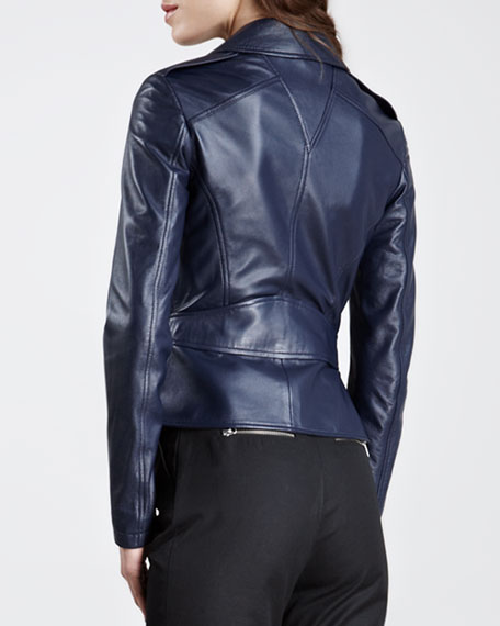 Peplum Leather Moto Jacket, Marine Blue