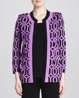 Misook Carlotta Chain-Print Knit Jacket