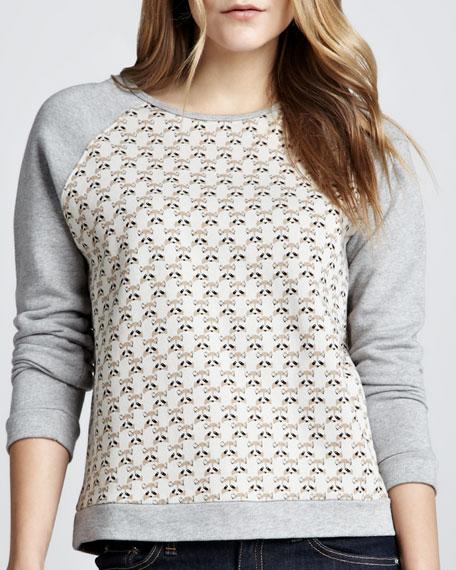 Raccoon-Print Raglan Sweatshirt
