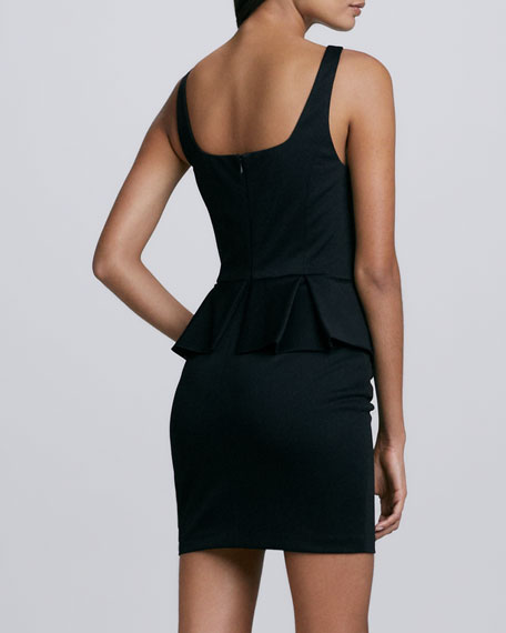 Peplum-Skirt Pencil Dress, Black