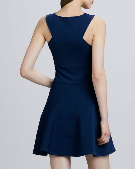 Sleeveless Seamed Fit-and-Flare Dress