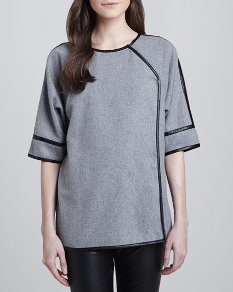 Half-Sleeve Knit Crossover Jacket