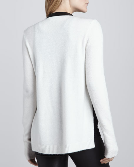 Bicolor Knit-Back Moto Jacket