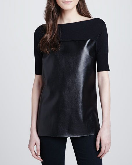 Short-Sleeve Leather-Front Top