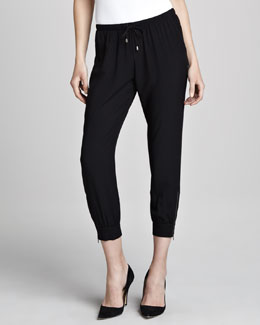 Splendid Zipper-Cuff Drawstring Pants