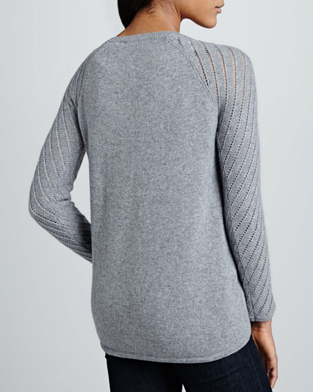 Pointelle Cashmere High-Low Sweater