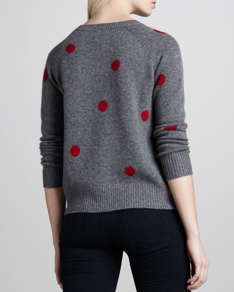 Jules Ruby-Dot Cashmere Sweater, Gray