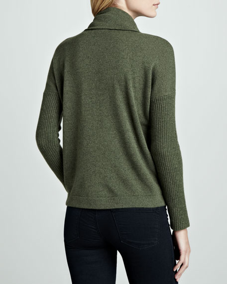 Marled Cashmere Cowl-Neck Sweater