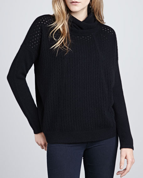 Perforated-Front Cowl-Neck Sweater