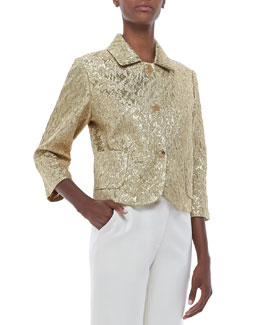 Michael Kors Brocade Three-Button Jacket