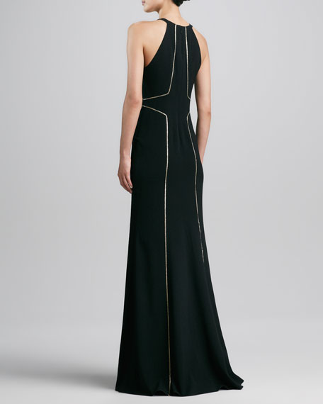 Seamed Fit-and-Flare Halter Gown