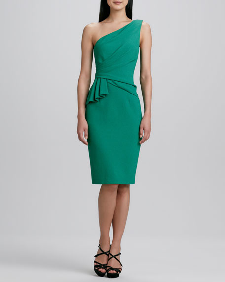 One-Shoulder Side-Ruffle Cocktail Dress
