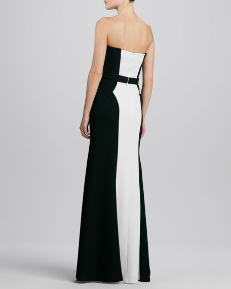 Strapless Two-Tone Belted Gown