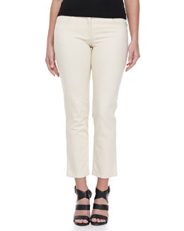 Michael Kors Natural Demin Cropped Jeans, Ivory