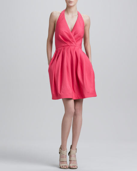 Halter Dress with Full Skirt, Fuchsia