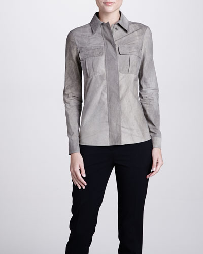 Michael Kors Snap-Front Long-Sleeve Shirt