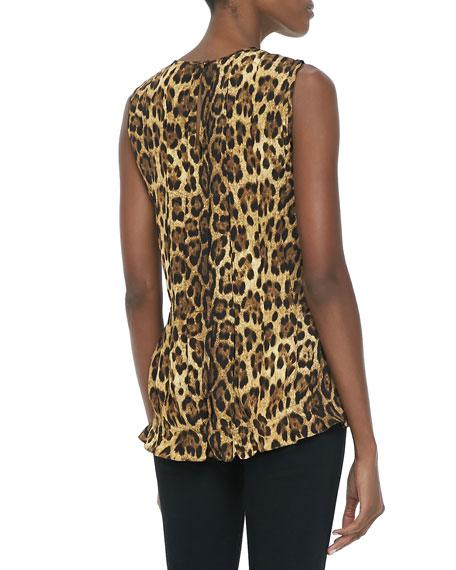 Pleated Leopard-Print Shell