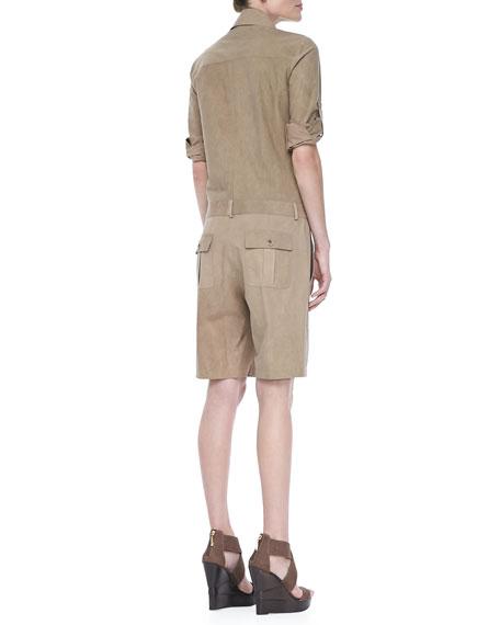 Long-Sleeve Poplin Jumpsuit