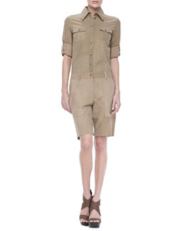 Michael Kors Long-Sleeve Poplin Jumpsuit