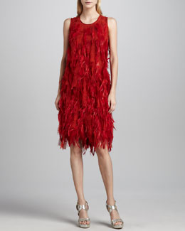 Michael Kors Pamush Feather-Covered Dress