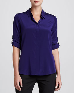 DKNY Tab-Sleeve Stretch-Silk Blouse