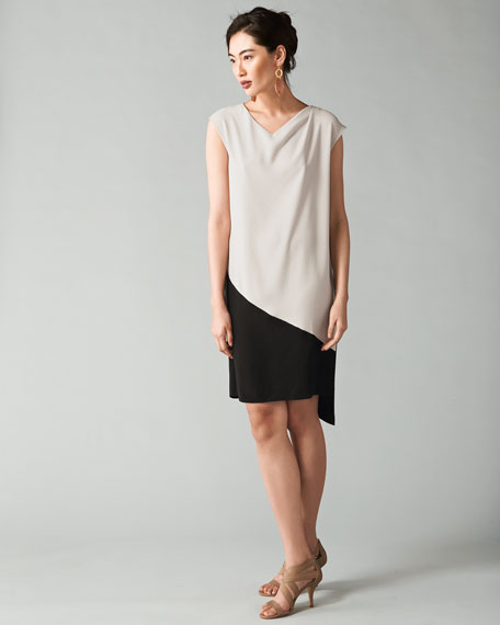 Colorblock Asymmetric Drape Dress