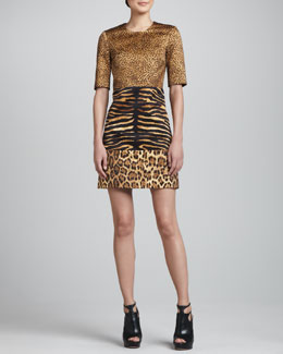 Michael Kors Animal-Print Tri-Panel Shift Dress