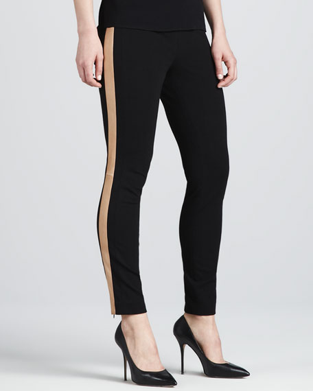 Leandra Leather-Stripe Leggings