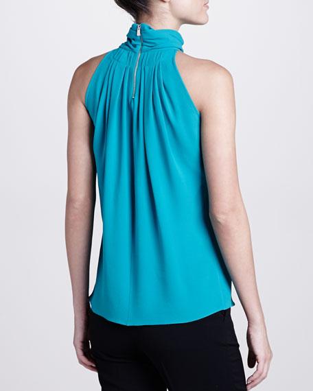 Georgette Pleated Turtleneck Blouse, Turquoise