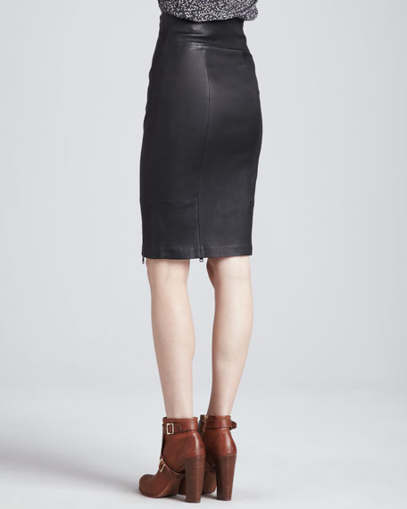 Brie Stretch Leather Pencil Skirt