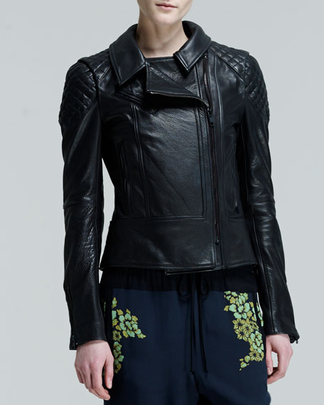 Tilberg Quilt-Shoulder Leather Jacket