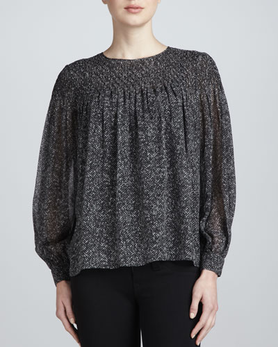 Long-Sleeve Silk Herringbone Blouse
