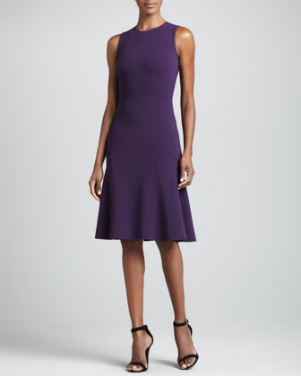 A-Line Crepe Fishtail Dress, Blackberry