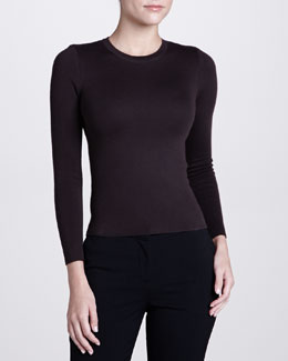 Michael Kors Long-Sleeve Cashmere Sweater, Chocolate