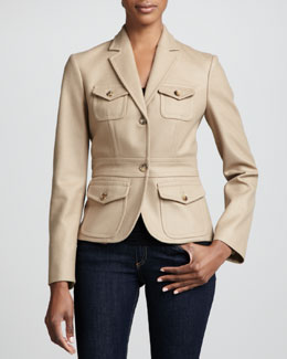 Michael Kors Felted Wool Travel Jacket, Fawn