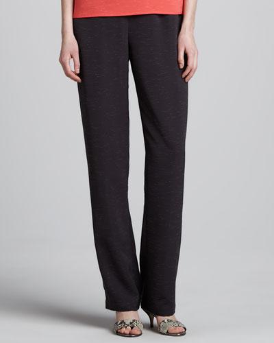Caroline Rose Shantung Straight-Leg Pants