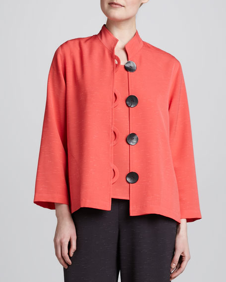 Button-Front Shantung Jacket, Women's