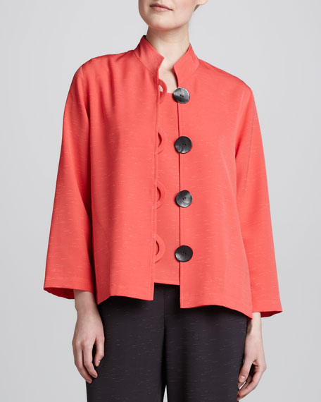 Button-Front Shantung Jacket