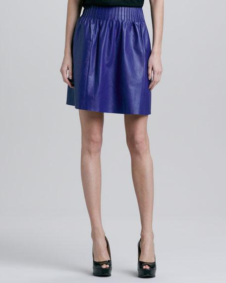 Esmeralda Pleated Leather Skirt