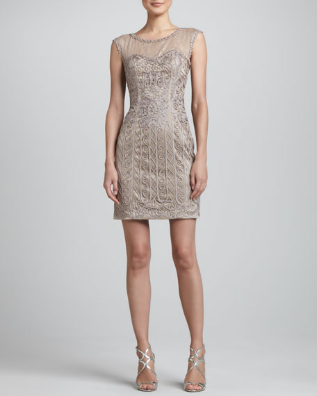 Cap-Sleeve Lace and Passementerie Dress, Taupe