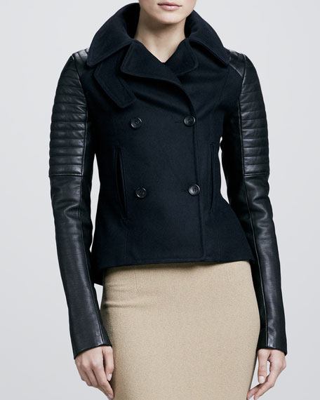 Pescod Leather-Sleeve Jacket
