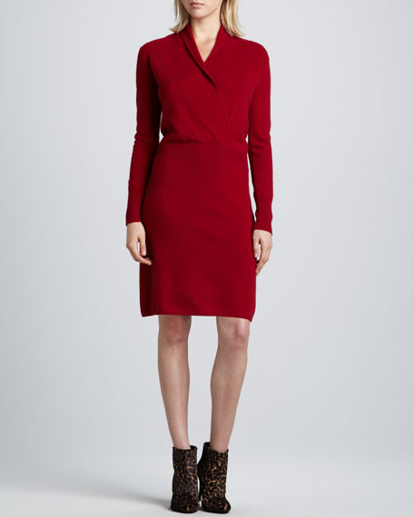 Ginia Cashmere Gowns Wrap Gown: Neiman Marcus Faux-Wrap Cashmere Dress