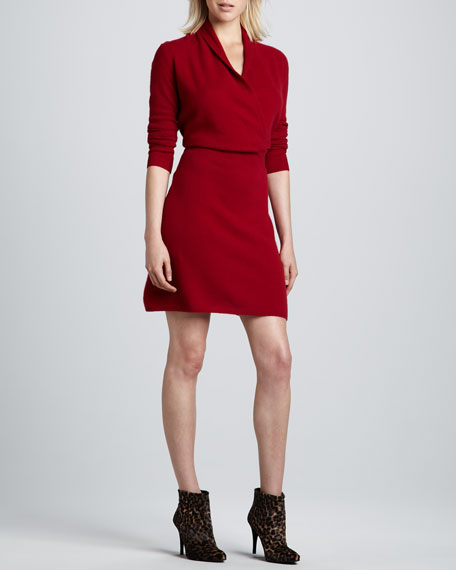 Faux-Wrap Cashmere Dress, Women's